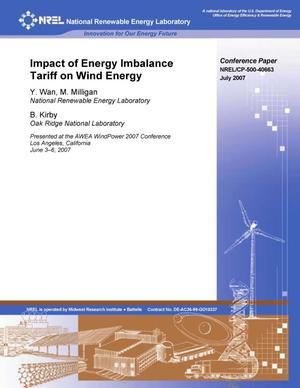 Primary view of object titled 'Impact of Energy Imbalance Tariff on Wind Energy'.