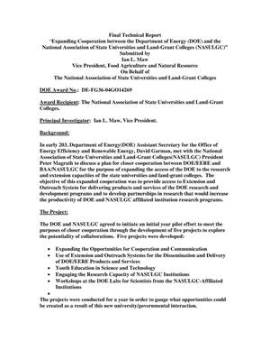 "Primary view of object titled '""Expanding Cooperation between the Department of Energy (DOE) and the National Association of State Universities and Land-Grant Colleges (NASULGC)""'."