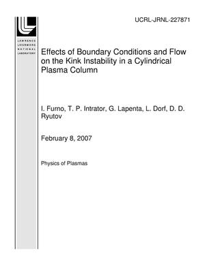 Primary view of object titled 'Effects of Boundary Conditions and Flow on the Kink Instability in a Cylindrical Plasma Column'.