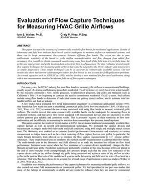 Primary view of object titled 'Evaluation of flow capture techniques for measuring HVAC grilleairflows'.