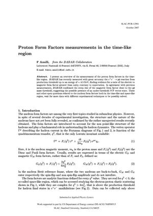 Primary view of object titled 'Proton Form Factors Measurements in the Time-Like Region'.
