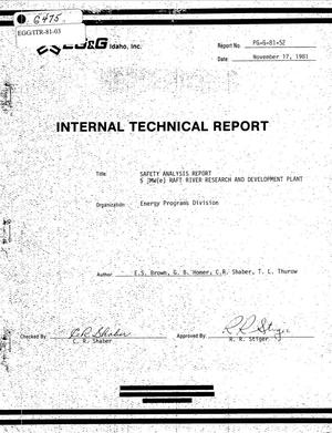 Primary view of object titled 'Internal Technical Report, Safety Analysis Report 5 MW(e) Raft River Research and Development Plant'.