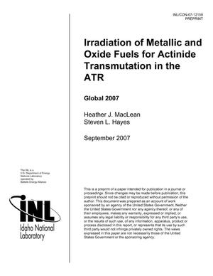 Primary view of object titled 'Irradiaton of Metallic and Oxide Fuels for Actinide Transmutation in the ATR'.