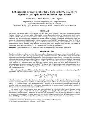 Primary view of object titled 'Lithographic measurement of EUV flare in the 0.3-NA Micro ExposureTool optic at the Advanced Light Source'.