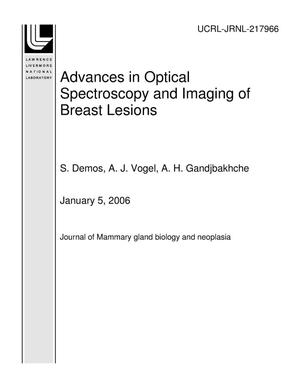 Primary view of object titled 'Advances in Optical Spectroscopy and Imaging of Breast Lesions'.