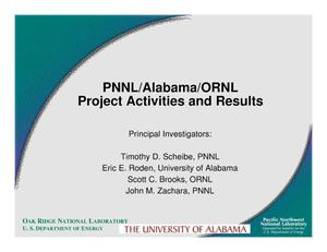 Primary view of object titled 'PNNL/Alabama/ORNL Project Activities and Results'.