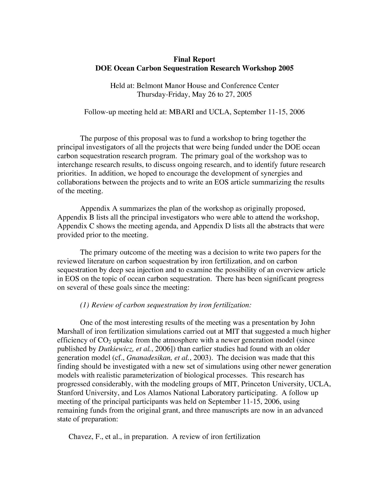 DOE Ocean Carbon Sequestration Research Workshop 29 - May 29th