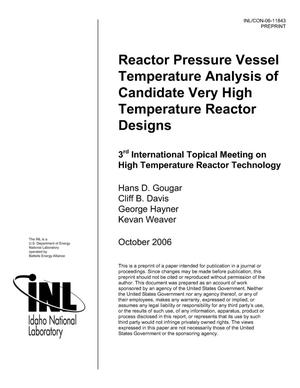 Primary view of object titled 'REACTOR PRESSURE VESSEL TEMPERATURE ANALYSIS OF CANDIDATE VERY HIGH TEMPERATURE REACTOR DESIGNS'.