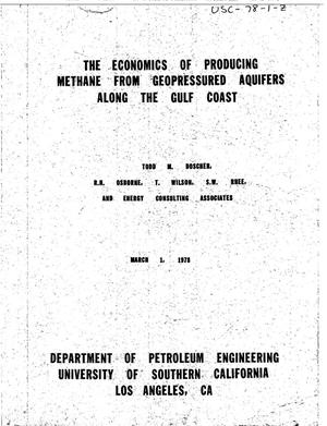 Primary view of object titled 'Economics of producing methane (exclusively) from geopressured aquifers along the Gulf Coast'.