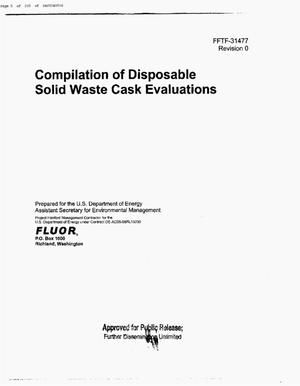 Primary view of object titled 'COMPILATION OF DISPOSABLE SOLID WASTE CASK EVALUATIONS'.