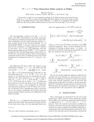 Primary view of object titled 'B^0 to \pi^+ \pi^- \pi^0Time Dependent Dalitz Analysis at BaBar'.