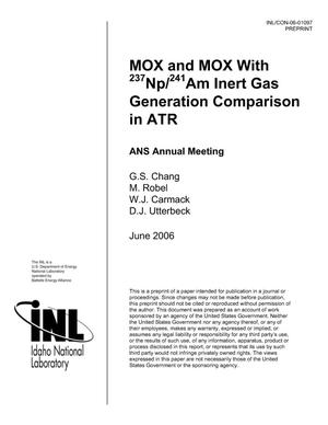 Primary view of object titled 'MOX and MOX with 237Np/241Am Inert Fission Gas Generation Comparison in ATR'.