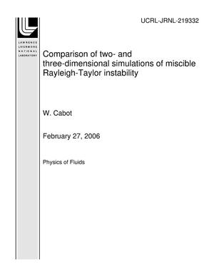 Primary view of object titled 'Comparison of two- and three-dimensional simulations of miscible Rayleigh-Taylor instability'.