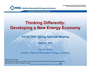 Primary view of object titled 'Thinking Differently: Developing a New Energy Economy (Presentation)'.
