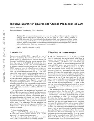 Primary view of object titled 'Inclusive Search for Squarks and Gluinos Production at CDF'.