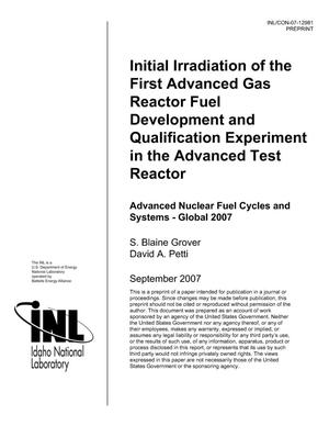Primary view of object titled 'INITIAL IRRADIATION OF THE FIRST ADVANCED GAS REACTOR FUEL DEVELOPMENT AND QUALIFICATION EXPERIMENT IN THE ADVANCED TEST REACTOR'.