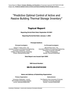 Primary view of object titled 'Predictive Optimal Control of Active and Passive Building Thermal Storage Inventory'.