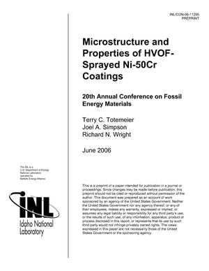 Primary view of object titled 'Microstructure and Properties of HVOF-Sprayed Ni-50Cr Coatings'.