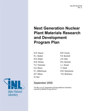 Primary view of object titled 'Next Generation Nuclear Plant Materials Research and Development Program Plan'.