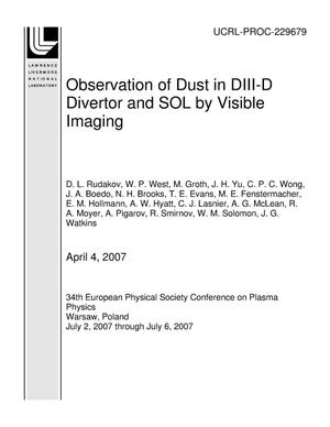 Primary view of object titled 'Observation of Dust in DIII-D Divertor and SOL by Visible Imaging'.