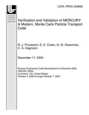 Primary view of object titled 'Verification and Validation of MERCURY: A Modern, Monte Carlo Particle Transport Code'.