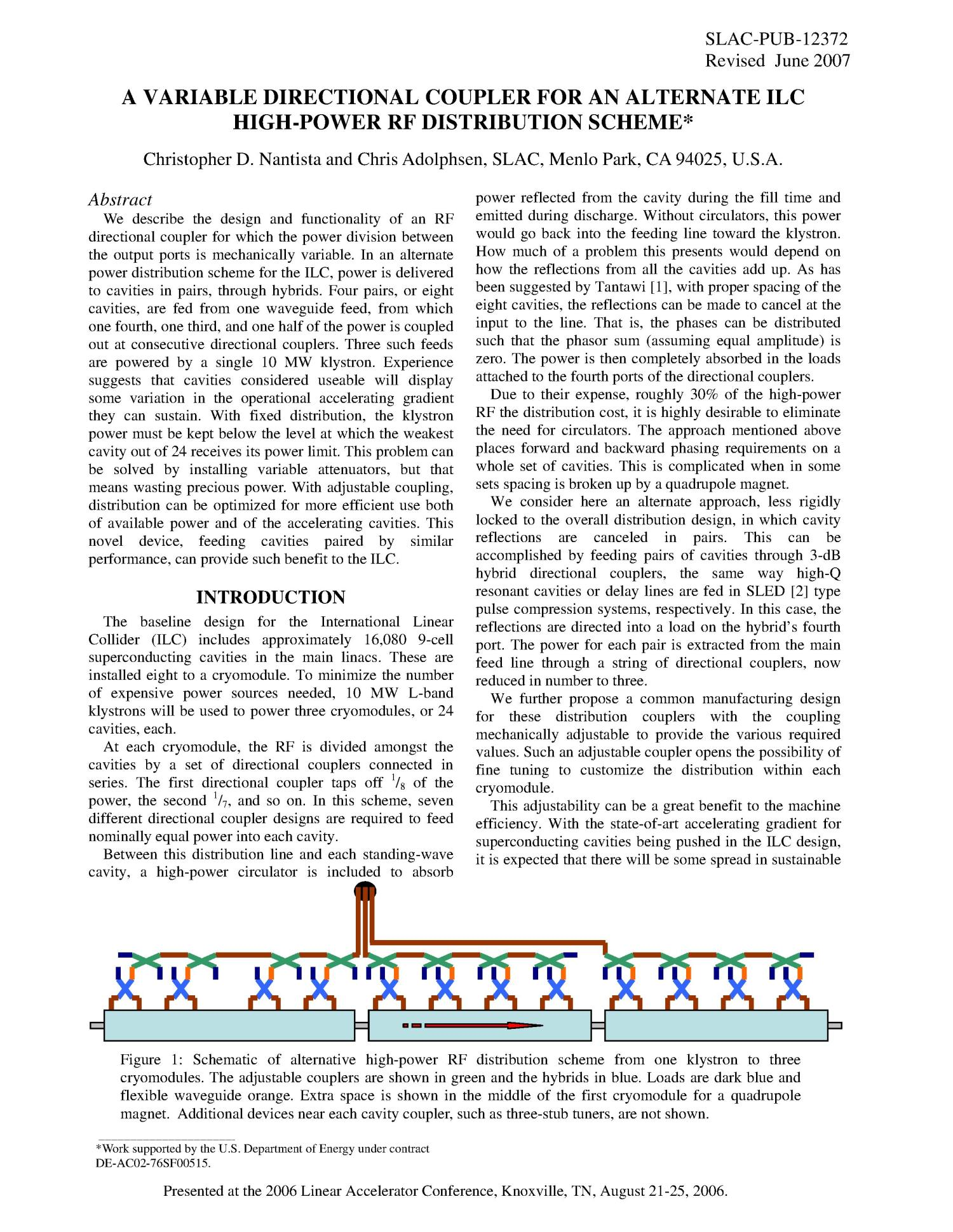 A Variable Directional Coupler For An Alternate Ilc High Power Rf Schematic Distribution Scheme Digital Library