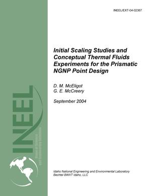 Primary view of object titled 'Initial Scaling Studies and Conceptual Thermal Fluids Experiments for the Prismatic NGNP Point Design'.