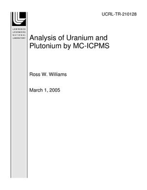 Primary view of object titled 'Analysis of Uranium and Plutonium by MC-ICPMS'.