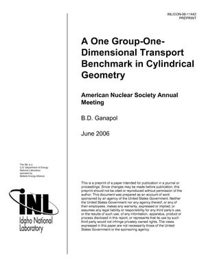 Primary view of object titled 'A One-group, One-dimensional Transport Benchmark in Cylindrical Geometry'.