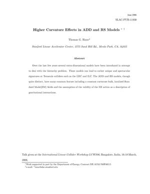 Primary view of object titled 'Higher Curvature Effects in the ADD and RS Models'.