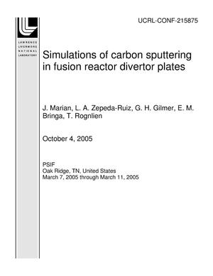 Primary view of object titled 'Simulations of carbon sputtering in fusion reactor divertor plates'.
