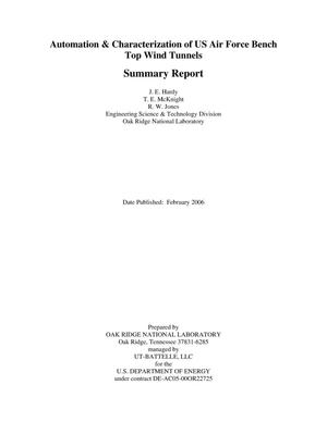 Primary view of object titled 'Automation&Characterization of US Air Force Bench Top Wind Tunnels - Summary Report'.