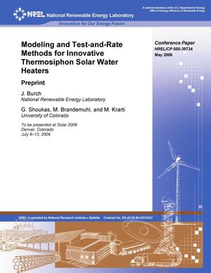 Primary view of object titled 'Modeling and Test-and-Rate Methods for Innovative Thermosiphon Solar Water Heaters: Preprint'.
