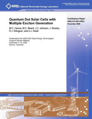 Primary view of object titled 'Quantum Dot Solar Cells with Multiple Exciton Generation'.