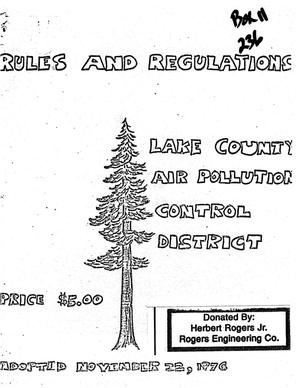 Primary view of object titled 'Rules and Regulations, Lake County Air Pollution Control District'.