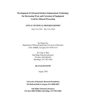 Primary view of object titled 'Development of Advanced Surface Enhancement Technology for Decreasing Wear and Corrosion of Equipment Used for Mineral Processing'.
