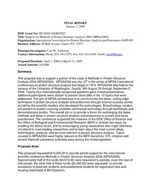 Primary view of object titled 'MPSA 2004 Final Report'.