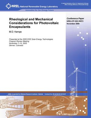 Primary view of object titled 'Rheological and Mechanical Considerations for Photovoltaic Encapsulants'.