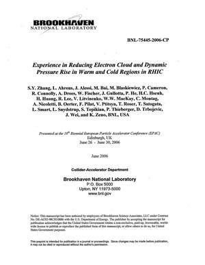 Primary view of object titled 'EXPERIENCE IN REDUCING ELECTRON CLOUD AND DYNAMIC PRESSURE RISE IN WARM AND COLD REGIONS IN RHIC.'.
