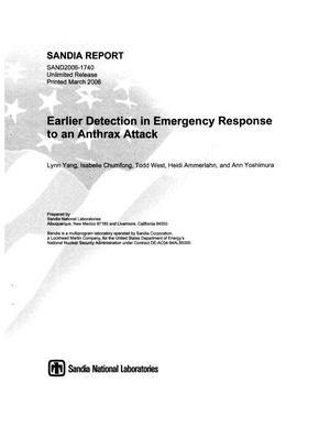 Primary view of object titled 'Earlier detection in emergency response to an anthrax attack.'.