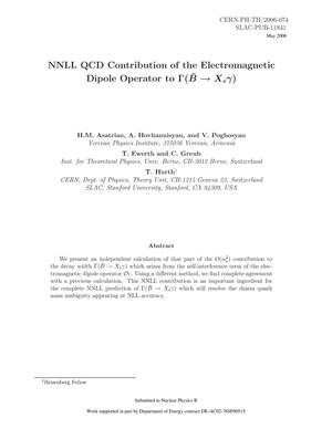Primary view of object titled 'NNLL QCD Contribution of the Electromagentic Dipole Operator to \bar B --> X_s gamma'.