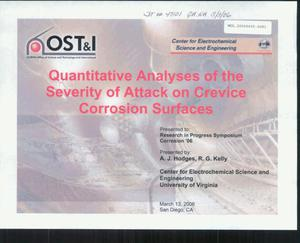Primary view of object titled 'QUANTITATIVE ANALYSES OF THE SEVERITY OF ATTACK ON CREVICE CORROSION SURFACES'.