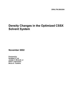 Primary view of object titled 'Density Changes in the Optimized CSSX Solvent System'.