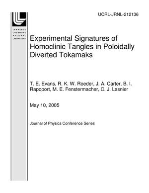 Primary view of object titled 'Experimental Signatures of Homoclinic Tangles in Poloidally Diverted Tokamaks'.