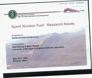 Primary view of object titled 'SPENT NUCLEAR FUEL: RESEARCH NEEDS'.