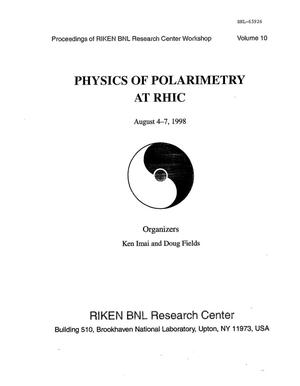 Primary view of object titled 'PHYSICS OF POLARITY AT RHIC-VOLUME 10.'.