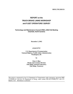 Primary view of object titled 'REPORT on the TRUCK BRAKE LINING WORKSHOP and FLEET OPERATORS' SURVEY'.