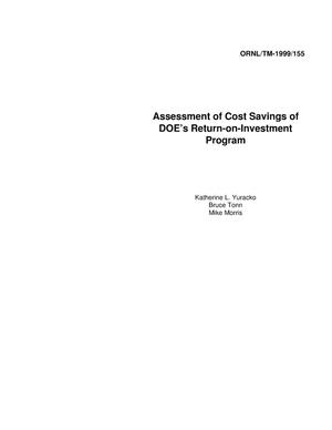 Primary view of object titled 'Assessment of Cost Savings of DOE's Return-on-Investment Program'.