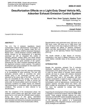 Primary view of object titled 'Desulfurization Effects on a Light-Duty Diesel Vehicle NOx Adsorber Exhaust Emission Control System'.