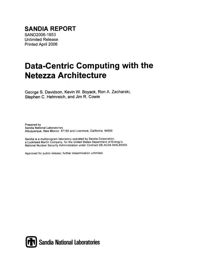 Data Centric Computing With The Netezza Architecture.